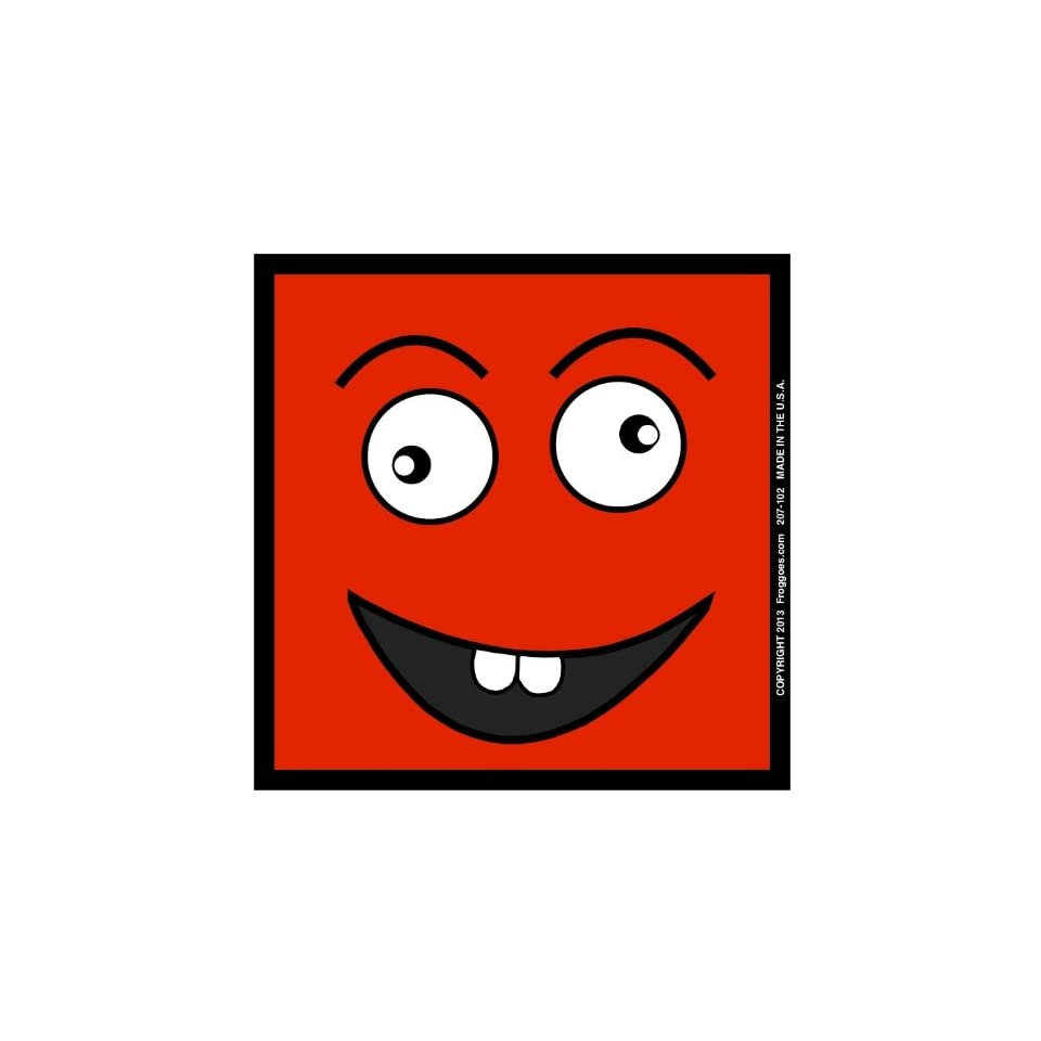 SQUARE CRAZY HAPPY FACE   RED   STICK ON CAR DECAL SIZE 3 1/2 x 3 1/2   VINYL DECAL WINDOW STICKER   NOTEBOOK, LAPTOP, WALL, WINDOWS, ETC. COOL BUMPERSTICKER