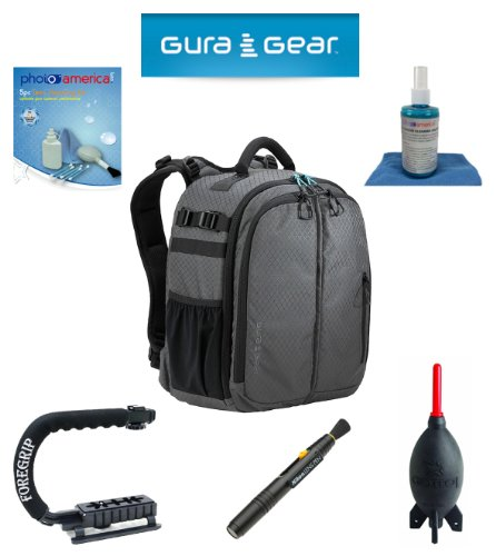 Gura Gear Bataflae 18L Backpack (Grey) For Canon Eos 5D Mark Iii, 5D Mark Ii, 7D, 60D + Foregrip + Nikon Lens Pen Cleaning System + Giotto'S Air Blower + Cleaning Kit + Lcd Screen Protectors + Olympus Waterproof Binoculars