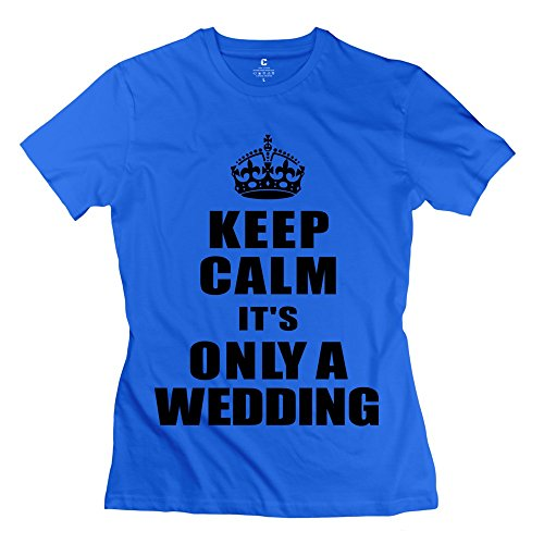 Glycwh Women'S Keep Calm Its Only Wedding T-Shirt Royalblue Us Size L Fashion
