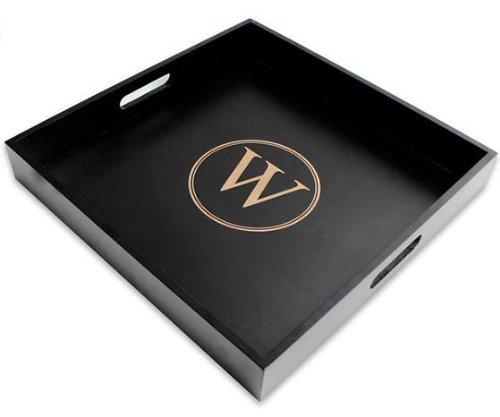 "Monogram Wood Serving Tray, 2.25""Hx16""Wx16""D, Black back-364056"
