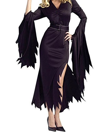 [PEGGYNCO Womens All Black Gothic Witch Halloween Costume Size S] (1920s Halloween Costumes Antique)