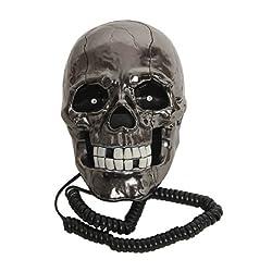 Skeleton Skull Shape Wired Telephone Landline Phone with Led Eyes (Black)