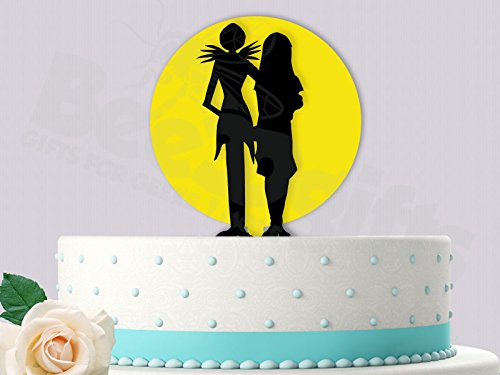 Jack and Sally With Yellow Moon Wedding Cake Topper