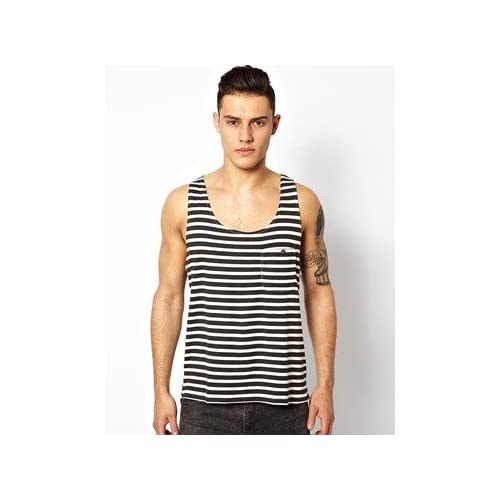 Dr Denim Vest in Stripe with Dipped Hem 並行輸入品