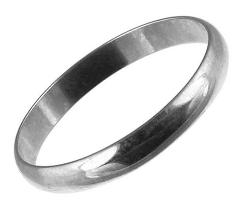 Unisex Wedding Ring, 9 Carat White Gold, D Shape,