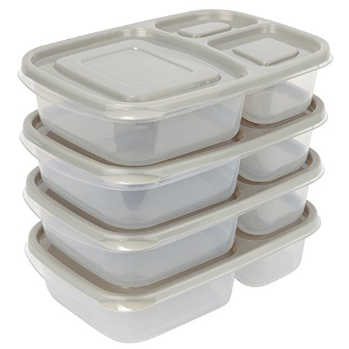 Sunsella Buddy Boxes - 3 Compartment Containers (4 Pack) Reusable Bento Lunch box & Divided Food Storage With Grey Lids (Not Leakproof) (Micro Cool Mini Fridge compare prices)