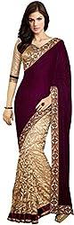 Shakti Krupa Creation Women's Brasso Saree (skc104lf_Maroon, Maroon)
