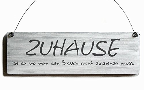 shabby holzschild zuhause vintage dekoschild bauch einziehen. Black Bedroom Furniture Sets. Home Design Ideas