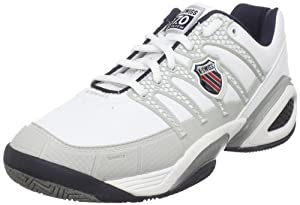 K-Swiss Men's Defier DS Tennis Shoe,White/Light Grey/Navy/Red,8 M