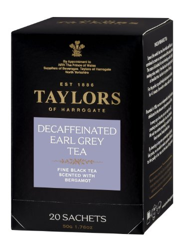 Taylors of Harrogate, Black Tea, Decaffeinated Earl Grey Tea, 20-Count Wrapped Tea Bags (Pack of 6)