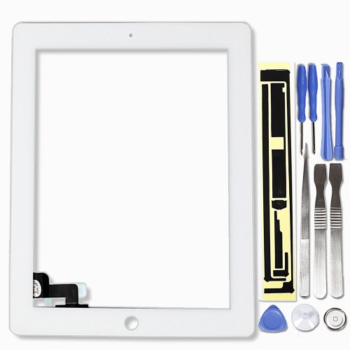 Touch Screen Digitizer Front Glass Replacement Part For Apple Ipad 2 2Nd With Tools And Adhesive - White