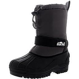 Unisex Kids Pull On Drawstring Closure Nylon Winter Snow Rain Fur Boots - 2 - GRE34 YC0157