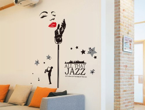 Good Life All That Jazz Quote Woman With Microphone Wall Decal Home Sticker Decor