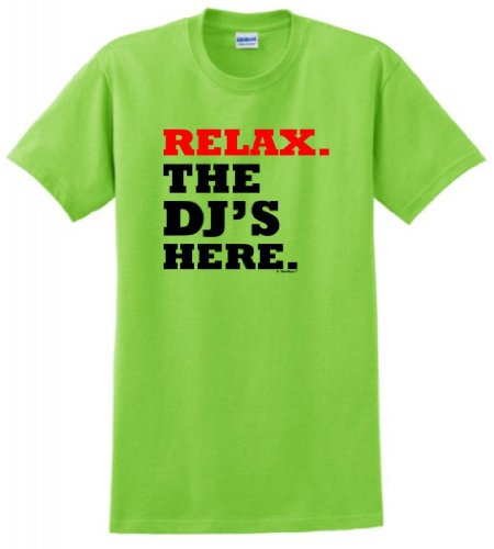 Relax The Dj'S Here T-Shirt Small Lime
