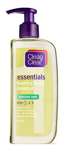 Clean & Clear Foaming Facial Cleanser for Sensitive Skin, 8 Ounce (Pack of 6)