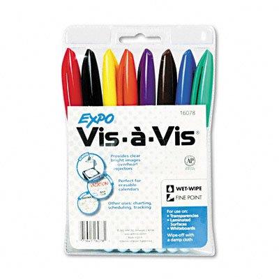 EXPO® Vis-à-Vis Wet-Erase Overhead Projection Marker, Fine Point, Assorted, 8 per Set coe j expo 58