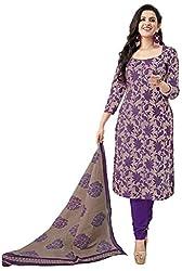 Janasya Women's Polyester Salwar Suit Dress Material (DR-017-Printed_Voilet)