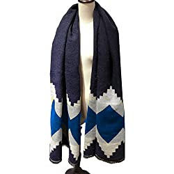 Mily womens Fashion Long Shawl Winter Warm assorted colors Large Imitation Cashmere Scarf Blue