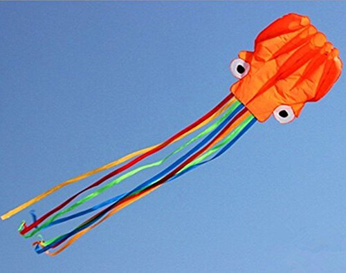 Vivcy Beautiful Large Orange Software Octopus Easy Flyer Kits For Children-Includes 160 Feet Of Line And String Winder 28X160 Inches