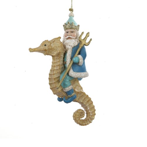 Resin Neptune On Gold Glittered Seahorse Ornament