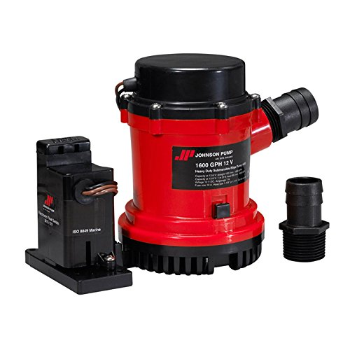 Johnson Pumps 01604-00 1600 GPH Heavy Duty Automatic Bilge Pump with Electromagnetic Switch, 12V primary