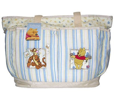 Winnie the Pooh Large Diaper Bag (blue strip and yellow) - 1