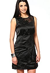 OVIYA Black Poly Satin Dress