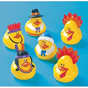 One Dozen (12) Rubber Duckie Ducky THANKSGIVING Ducks party favors