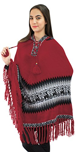 Women's Alpaca Wool Hooded Poncho Cape Knit Yarn Coat Llamas Design (Red)