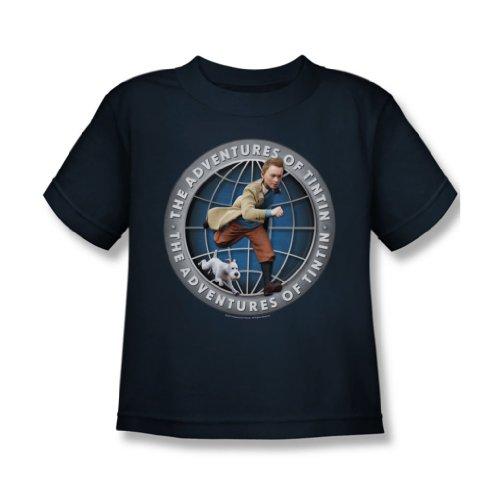 Belltex-Copripiumino In pile di Tintin, Juvy Globe-Maglietta a maniche corte, colore: blu blu navy Large