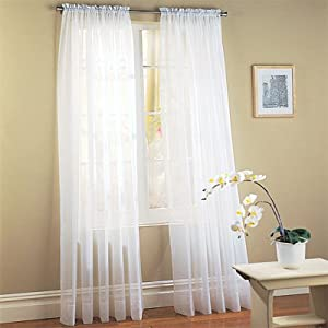 2 Piece Solid White Sheer Window Curtains/drape/panels/treatment 58