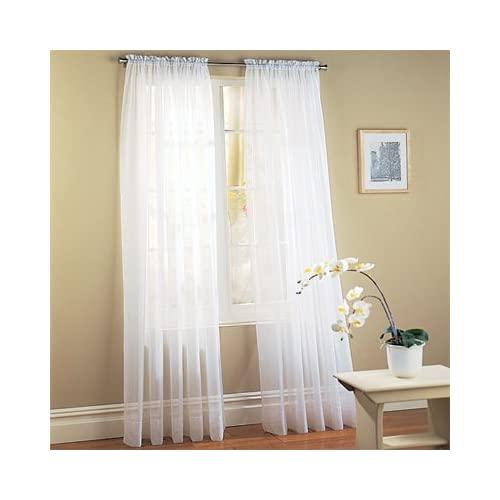 piece solid white sheer window curtains drape panels treatment 58 x