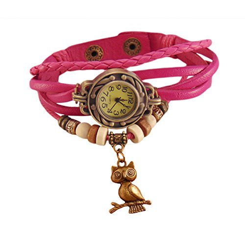 Habors Multiband Watch Pink Bracelet With Owl Charm
