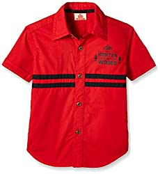 UFO Boys' Shirt (AW16-WF-BKT-242_Red_14 - 15 years)