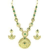 Zaveri Pearls Green Rajasthani Royal Necklace Set for Women-ZPFK1989