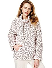 Funnel Neck Animal Print Pyjama Top