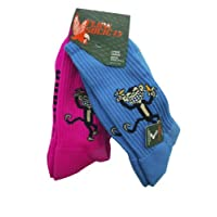 Flow Society Authentic Lacrosse Gear Socks Monkey Banana One Turquoise, One Hot Pink pair (This is a pack of 2 pairs of socks.) Size Medium Fits Shoe 4-8.5