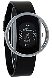 Addic Kawa Black Color Strap And Dial With Circular Silver Case Watch For Women