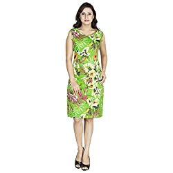 Anekaant Green Multi Printed Cotton A-line Dress