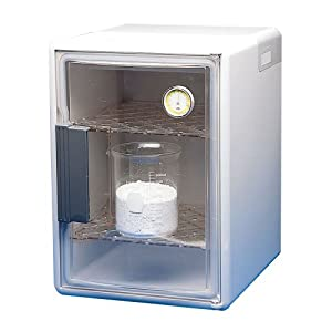 "Bel-Art Scienceware 420610000 Clear Plastic Dry-Keeper Plus Auto-Desiccator Cabinet with 2 Shelves, 12"" Length x 13-7/8"" Width x 17"" Height"