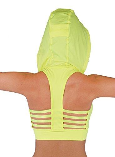 Vesi Star Women's Comfort Padded Sports Bra (S / M, Neon Yellow)