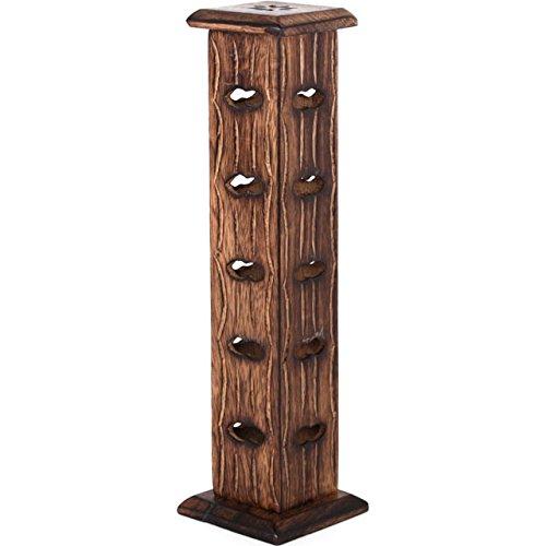 De madera tallado de la torre de conos de incienso y varillas de incienso con soporte/grabadora de