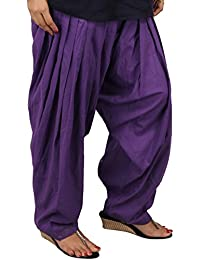 Stylezee Ladies Designer Pure Cotton Solid Plain Patiala Salwar (Dark Purple)