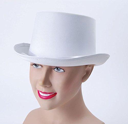 Bristol Novelty Top Hat White Satin Look Hats Men's One Size (White Satin Top Hat)
