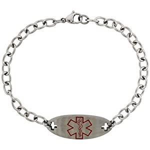 Surgical Steel Medical Alert Bracelet for Type 2 Diabetic 9/16 inch wide, 8 1/2 inch long