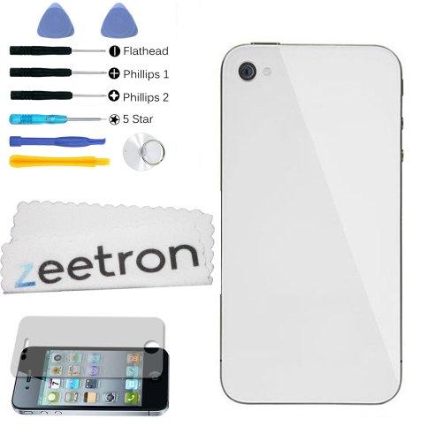 Zeetron Iphone 4S Back Glass Door White + Zeetron Microfiber Cloth + Torx + Screen Protector