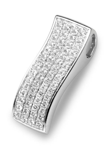 Cz Micro Pave Sterling Silver 925 Rhodium Plated Fantasy Pendant