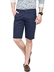 Showoff Men's Navy Blue Slim Fit Solid Casual Chino Shorts