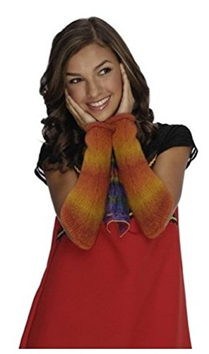 Girl's Wizards of Waverly Place Red-orange and Yellow Alex Striped Arm Warmers