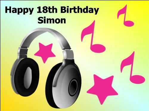 """10"""" X 7.5"""" Headphones Edible Image Cake Toppers Decorations Personalized On Edible Wafer Rice Paper - [Please Use The 'Contact Seller' Link To Send Us Your Personalised Message For Your Topper.]"""